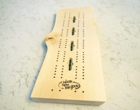 live edge cribbage board wood from the hood maple