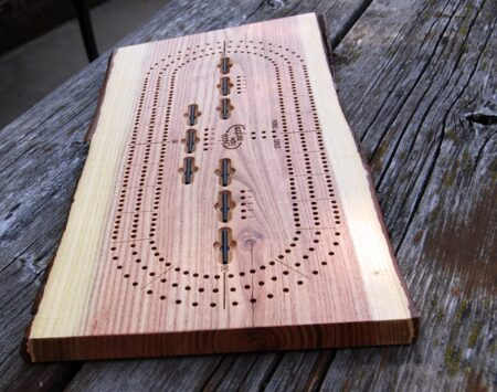 3 player cribbage board hand made recycled wood from the hood