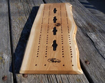 white oak cribbage board wood from the hood