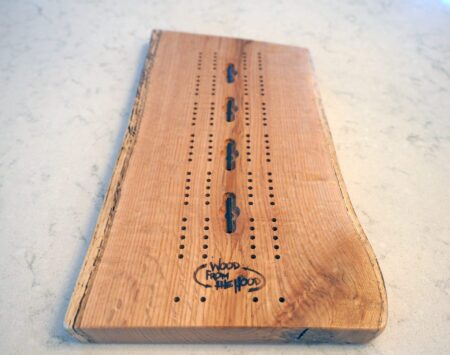 live edge reclaimed cribbage board wood from the hood