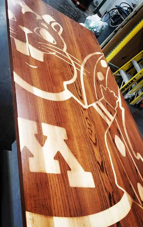 Branded Carved Wood Table University of Minnesota Wood From The Hood