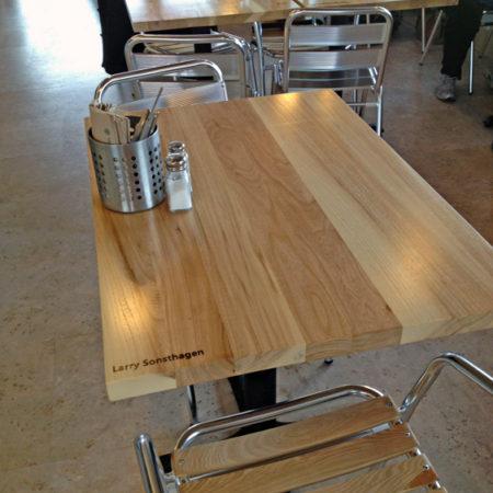 Reclaimed Urban Wood Restaurant Tables - Butter Bakery Minneapolis