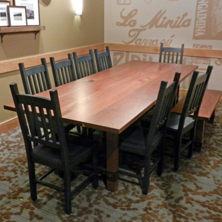 Reclaimed Engraved Communal Table - Caribou Coffee & Einstein Bros. Bagels
