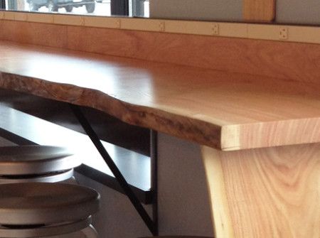 Restaurant bar counter made from reclaimed wood