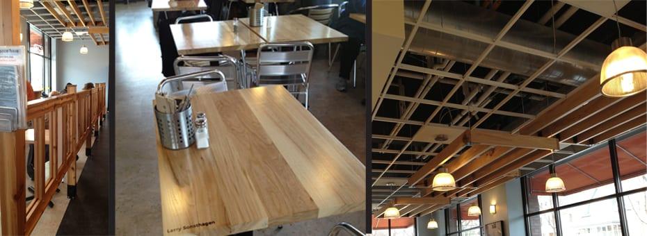 urban wood header railings ceiling butter bakery cafe minneapolis