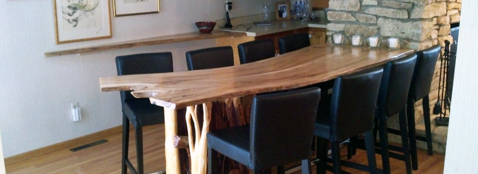 Custom Bar Counter and Table Recycled Wood