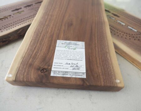 Three Player Cribbage Board Black Walnut Natural Edge Reclaimed Wood From the Hood