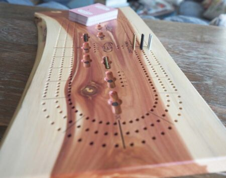 Three Player Cribbage Board Red Cedar Wood From the Hood
