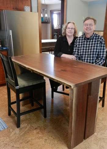 Black Walnut Kitchen Table Made from Slab