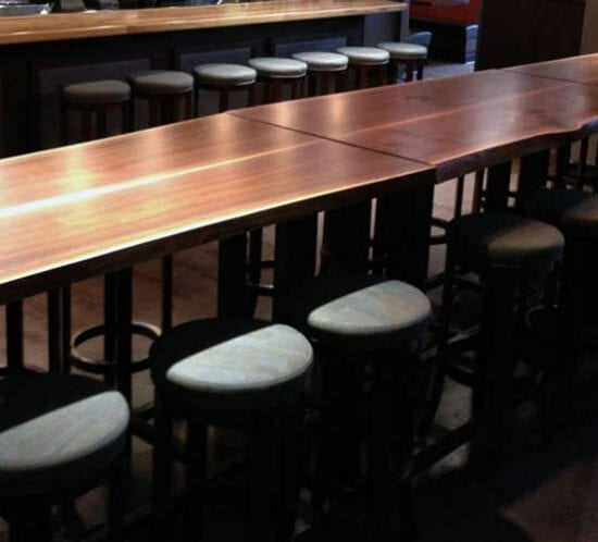 Urban Wood Communal Table | Custom Wood Furniture | Wood From The Hood | Minneapolis | Pizza Luce