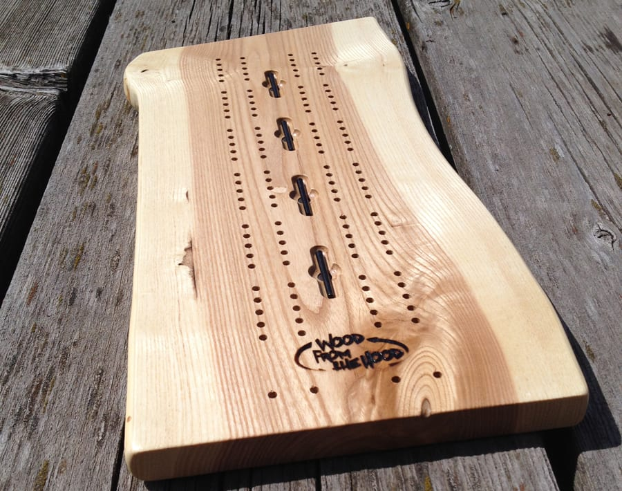 hand made cribbage board reclaimed wood from the hood