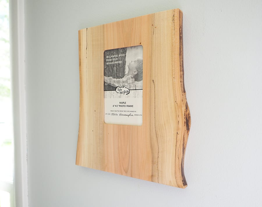 """4"""" x 6"""" Natural Edge Wood Picture Frame - Portrait – Maple 