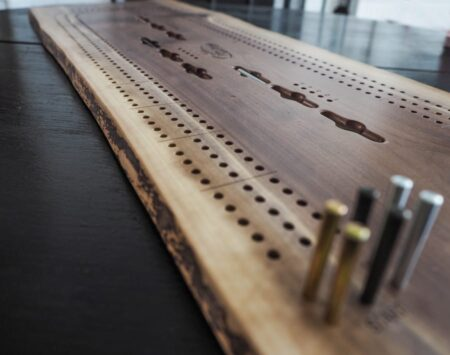 Cribbage Board Wood From the hood Black Walnut Minneapolis reclaimed wood