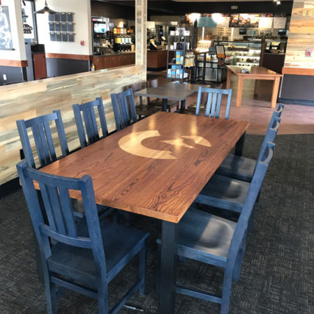 Engraved Stained Ash Community Table - Caribou Coffee - Colorado