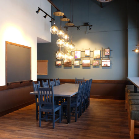 Urban Ash Reclaimed Gray Stained Communal Table - Caribou Coffee - Wood From the Hood