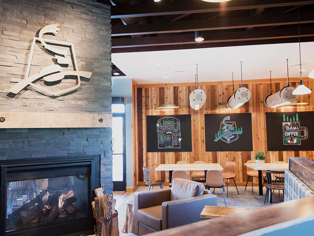 Dining Ledges | Bench | Communal Tables | Log Light Fixtures | Wood From The Hood | Caribou Coffee | Minneapolis