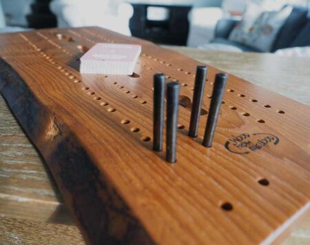 Wooden Cribbage Board Natural Edge Roasted Ash Wood From the Hood
