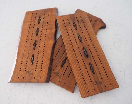 Wooden Cribbage Board Large Live Edge Roasted Ash Wood From the Hood
