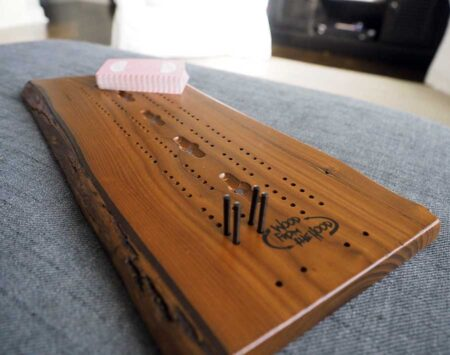 Wooden Cribbage Board Natural Edge Roasted Ash