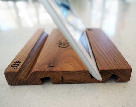 Wood Tablet Holder iPad Red Elm Reclaimed Wood From the Hood