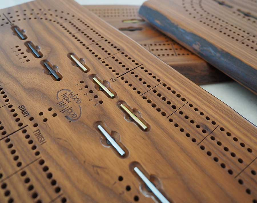 Wooden Cribbage Board Live Edge Three Player Roasted Ash Wood From the Hood