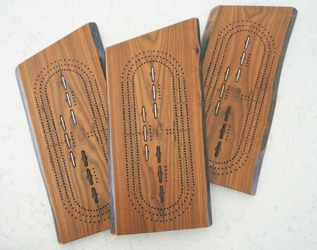 """10"""" x 20"""" Cribbage Board - 3 Player Track - Roasted Ash"""