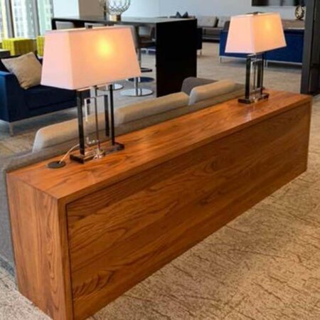 Walnut Stained A sh Waterfall Console Tables – IDS Club Room