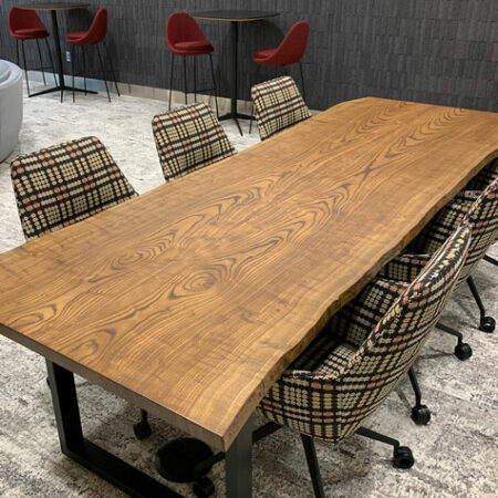 Reclaimed Ash Book Matched Table | Walnut Stain | Wood From the Hood | Wood Furniture | Atmosphere Commercial Interiors