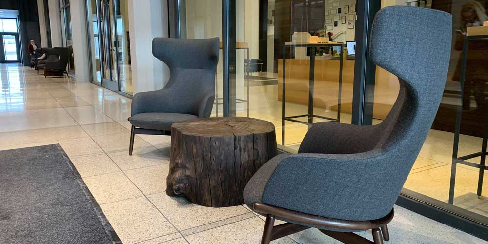 Natural Edge Elm Stump Tables Reclaimed Urban Wood From the Hood Minneapolis – HGA Architects and Engineers