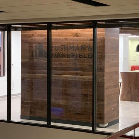 Black Walnut Paneling | Live-Edge Tables | Ceiling Baffles | Live-Edge Shelves | Wood From The Hood | Cushman Wakefield | Minneapolis