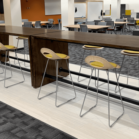 Dark Stained Ash Waterfall Tables - Walter Library / U of M