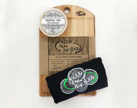 Mothers Day Gift Bundle Wood From The Hood Cutting Board Mineral Bee Wood Conditioner T shirt