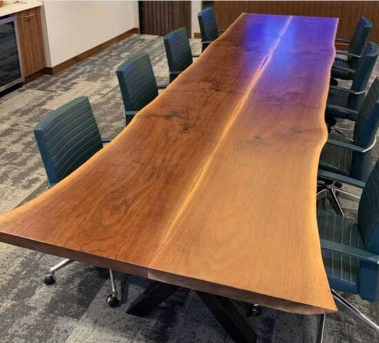 Live Edge Black Walnut Conference Table Book Matched Wood From the Hood
