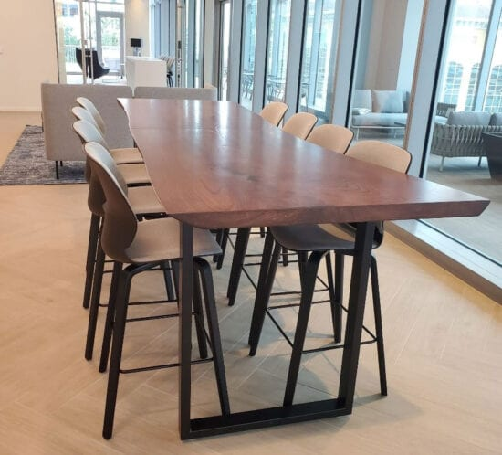 Live-Edge Stained Ash Communal Table
