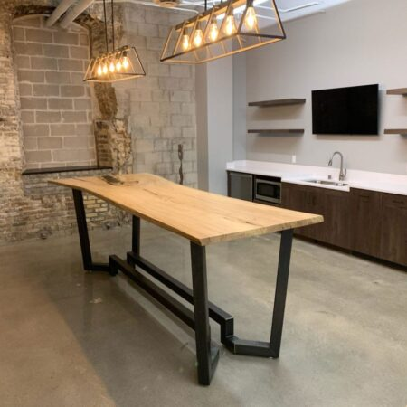 Book-Matched Live-Edge American Elm Table & White Oak Coffee Table